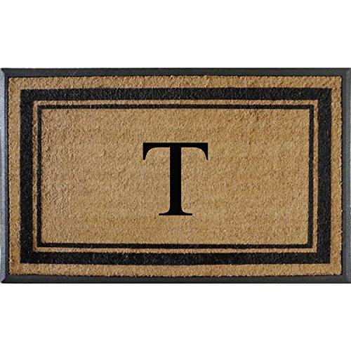First Impressions Markham Border Double Door, Doormat, Monogrammed T, X-Large