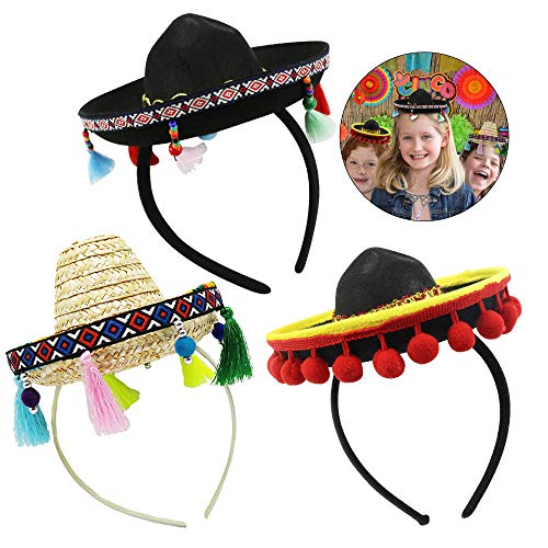 Cinco De Mayo Headbands, Fiesta Fabric and Straw Sombrero Party Costume for Fun Fiesta Hat Party Supplies, Luau Event Photo Props, Mexican Theme Decorations for Carnivals Festivals, Dia De Muertos, Coco Theme, Birthdays and Party Favors]()