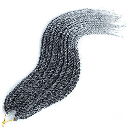 Mirra's Mirror (6Packs) 14Inch Micro Ombre Senegalese Box Braids Crochet Hair Braiding Hair Synthetic Mambo Twist Hair Extension T1B/gray 30Strands/Pack (14inch (6packs), T1B/gray ()