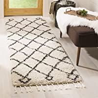 Safavieh Moroccan Fringe Shag Collection MFG241B Cream and Charcoal Grey Runner Rug (23 x 9)