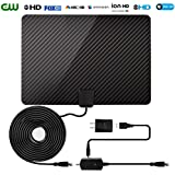 [2018 Newest] TV Antenna for Digital TV Indoor-60-80 Miles Range Clearview HDTV Antenna 1080P 4K with Amplifier Signal Booster (Adapter Included 16 Ft Coaxial Cable