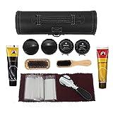 Shoe Shine Care Set,Portable Shoe Polish Oil Shoe Wooden Brushes Leather Cylinder Box Travel Kit (Ⅰ)