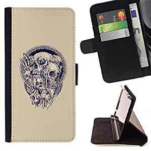 Momo Phone Case / Flip Funda de Cuero Case Cover - Cráneo de la guirnalda Beige Azul Púrpura Muerte - HTC Desire 626