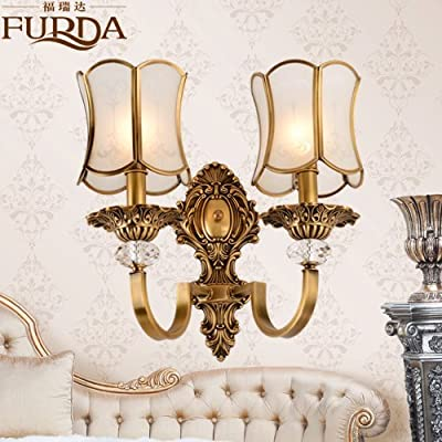 BL Modern retro European-style Wall lamp luxury mirror American country bed lamp living room dining room bedroom copper Wall lamp 390*370mm, Bathroom Mirror Lamps (110-120V)