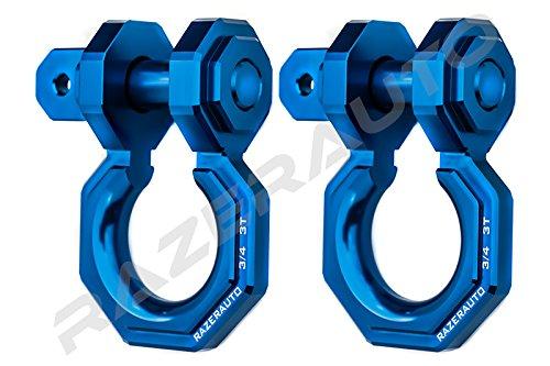 Razer Auto Falcon X Precision Blue Billet Aluminum 3.0 Ton D-Ring Bow Shackle 1 Pair 3/4