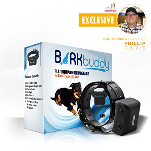 (Bark Buddy Platinum Plus Rechargeable NO-BARK Training System (BB7R) w/downloadable Free Exclusive Training Videos by Renowned Trainer Phillip Paris)