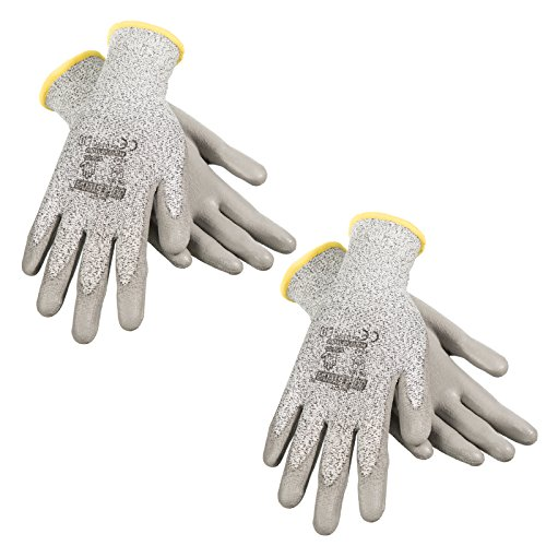 JORESTECH Palm Dipped Polyurethane Coated Seamless Knit Work Gloves PPE Hand Protection Blade Cut Resistance Level 5 (Medium - 1 Pair)