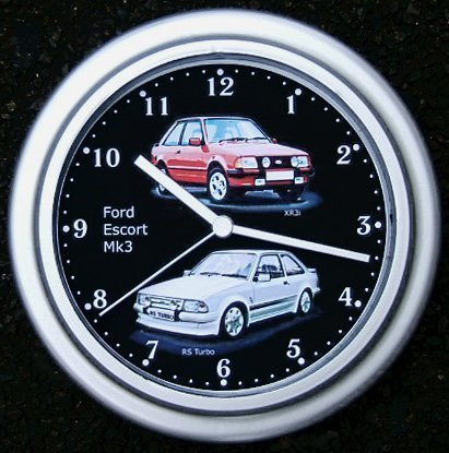 Reloj de pared de cuarzo Escort Mk3, RS Turbo, XR3i