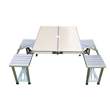 Eeayyygch Mesa y Silla Plegables de Aluminio para Picnic ...