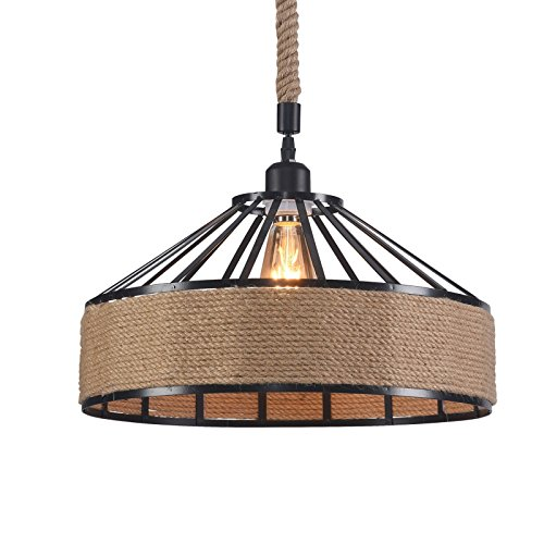 Wideskall 15 Industrial Natural Hemp Rope Metal Iron Bowl Shade Pendant Ceiling Light 1-Bulb Lighting Fixture, UL Certificated