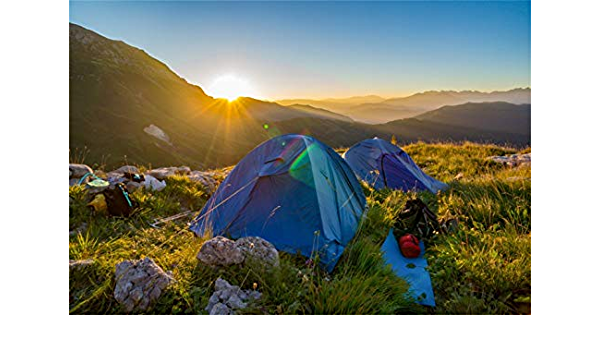 10x6.5ft Sunrise Mountain Top Camping Scene Polyester Photography Background Golden Sunshine Grassland Blue Tents Backpacks Backdrop Camping Amateur Expedition Team Shoot Studio Props