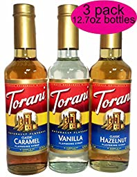 Torani Coffee Syrup Variety Pack - Vanilla, Caramel, Hazelnut, 3-count, 12.7 Ounce Bottles