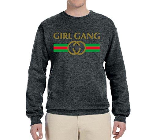 Girl Gang Gucci Logo Parody | Mens Fashion Crewneck Graphic Sweatshirt, Heather Black, Small