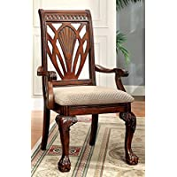 Furniture of America CM3185AC-2PK Petersburg I Cherry Arm Chair Set of 2 Dining