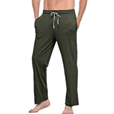 XIANGYANG Mens Cotton Sleep Bottoms String Loose Pijamas Pants Breathable Lounge Pants Army Green S