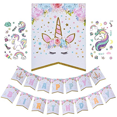 Unicorn Happy Birthday Banner, Unicorn Birthday Party Magical Pastel Design with Sparkle Gold Glitter for Cute Fantasy Fairy Children Birthday Party Supplies (2 Unicorn) (Designs Birthday Invitations)