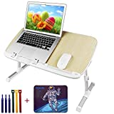 Laptop Stand for Bed with Mouse Pad and Tie, Pixiri Height Adjustable Lap Desk for Adults and Kids, Laptop Bed Tray, Foldable Laptop Desk, Portable Lap Table for Writing on Couch Sofa - Larger Size