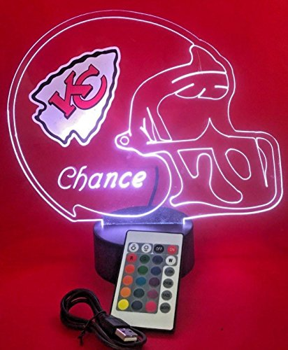 KC Chiefs NFL Light Up Lamp LED Personalized Free Kansas City Football Light Up Light Lamp LED Table Lamp, Our Newest Feature - Its WOW, With Remote 16 Color Options, Dimmer, Free Engraved Great Gift