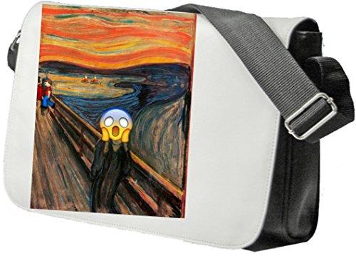 """Schultertasche """"Erschrockenes Gesicht im Museum Kunsthalle Kunst"""" Schultasche, Sidebag, Handtasche, Sporttasche, Fitness, Rucksack, Emoji, Smiley"""