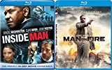 Man on Fire Blu Ray & The Inside Man Blu Ray + DVD 2 Pack Denzel Washington Double Feature Bundle Action Movie Set