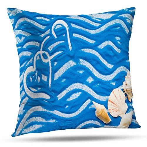 Kayel Interior Decoration Pillowcase Hearts Blue Sand and Sea Shells Travel Love Flat Adventure Bedroom Sofa Iiving Room Cushion Pillowcase Home Decoration 18 x 18 Inches
