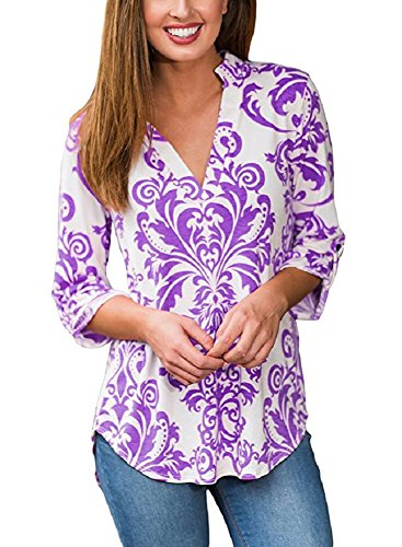 Cotton Blend Blouse (Floral Season Women Casual Henley V Neck Pleated 3 4 Sleeve Blouses Tops T -Shirts Purple X-Large)