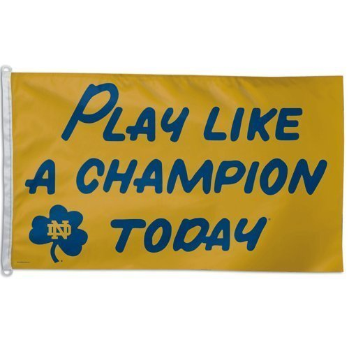 Custom-91Flag Notre Dame/Play Like A Champion Today Flag 3'x 5' by NCAA