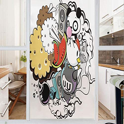 Decorative Window Film,No Glue Frosted Privacy Film,Stained Glass Door Film,Animal and Food Themed Composition Crazy Festive Doodle Panda Bird Cat Watermelon Decorative,for Home & Office,23.6In. by 78