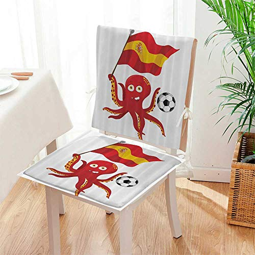 Mikihome Chair Pads 2 Piece Set European Football Barcela Madrid Valencia Sports Lover Clip Home Accent Garden Home Kitchen Mat:W17 x H17/Backrest:W17 x H36 (Chair Madrid Accent)