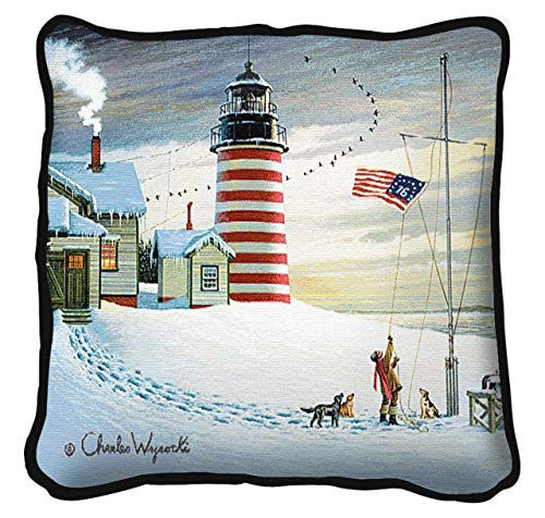West Quoddy Lighthouse Hand Finished Woven Pillow, 17