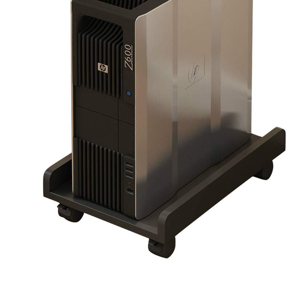 Liitrton Computer Desktop CPU Stand Mainframe Holder Carrier with Locking Caster (Black)