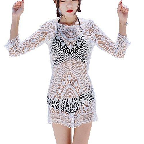 Summer Mujer Bikini Cover Up Backless Malla de Punto vestido de Playa de ganchillo , white , one-size White