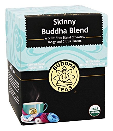 Organic Skinny Buddha Blend Tea - Kosher, Contains Caffeine, GMO-Free - 18 Bleach-Free Tea Bags