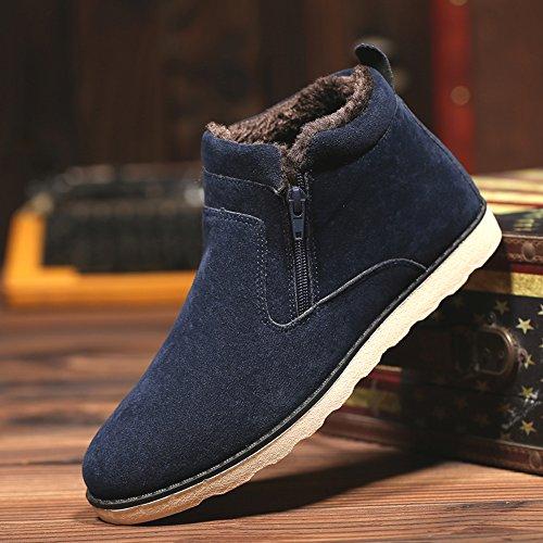 ... JACKSHIBO Herren Winter Wildleder Stiefeletten Mode Light Desert Boots  Kurzschaft Stiefel Blau ... 46ada9f094