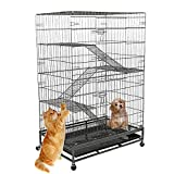 KARMAS PRODUCT Pet Cage Cat Kitten Dog Rabbit House Climbing Ladders, Adjustable Resting Platforms, Folding Metal Cage 4 Wheels (3 Steps)