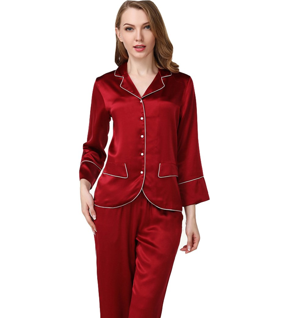 Sunshine Fashion and Simple Silk Long Sleeves Lingerie Pajamas,100% Mulberry Silk Nightgown Sleepwear Sets(2 Pieces)
