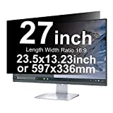 Xianan 27 inch Anti-Glare Anti-Peeping Privacy Filters 23.5x13.23inch/597x336mm 16:9 Display Filter Radiation Protection Computer Screen Protector Film