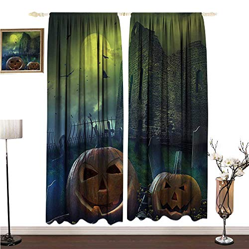 Anshesix Fashion Curtain Halloween Decorations Pumpkin in Spooky Graveyard in Old Stone Haunted House in Dark Night W96 xL84 Drapes for Living -