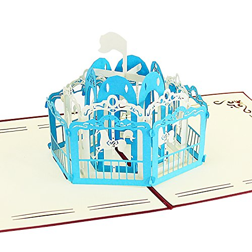 Jerry & Maggie - Pop Up Greeting Card - Carousel Amusement Park 3D Paper Greeting Thank You Card Handmade Envelope for kids men women | Halloween Thanksgiving Birthday ( Blue )