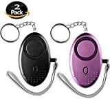 2 Pack Personal Alarm Keychain SOS Emergency Self-Defense Safe Siren Sound Weapon with Built-in Flashlight Anti-Attack Anti-Rape Anti-Theft Song Alarm for Students Women Kids Elderly Explorer JING-002