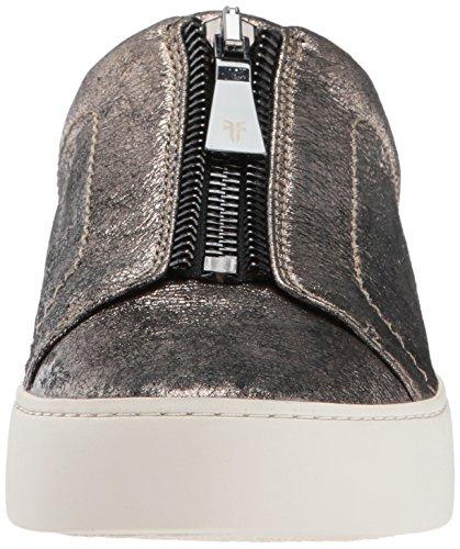 Sneaker In Pelle Di Lino Con Zip, Taglio Basso, Metallo Metallizzato