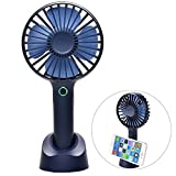 usb powered mini fan - Mini Handheld Fan - YIHUNION Portable USB Rechargeable Battery Powered Fan with Base, 2500mAh Battery,4 Modes for Home, Office, Bedroom and Outdoor travel(Blue)