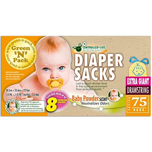 Green'N'Pack Scented Baby Drawstring Heavy Duty Diaper Sacks, X-Large by Green 'N' Pack