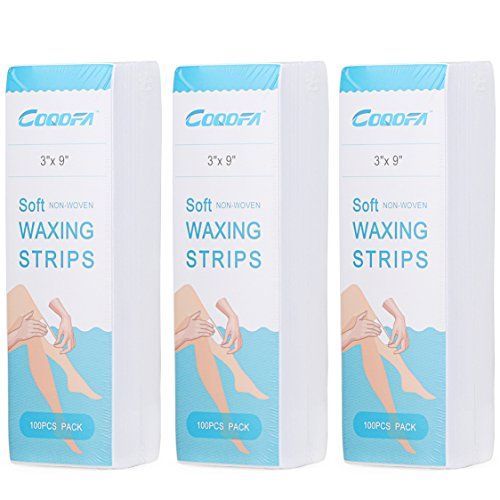 COQOFA 300 Pcs Hair Removal Waxing Strips Nonwoven Large (3x9 inch)