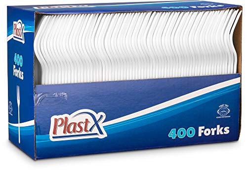 PlastX Cutlery 400 Count Disposable Plastic White Forks, Great For Every Day, Home, Office, Party, or Resturants,