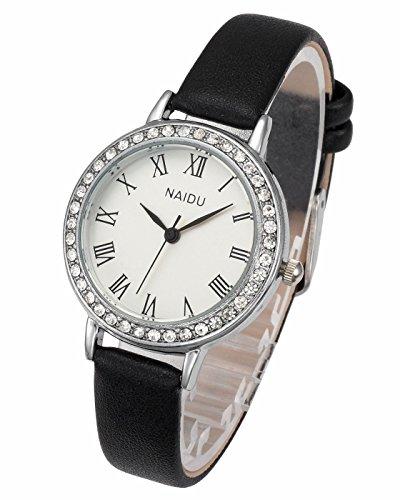 Top Plaza Womens Fashion Wrist Watch Luxury Silver Rhinestones Case Roman Numerals Thin Leather Strap Analog Quartz Dress Watches - Black from Top Plaza