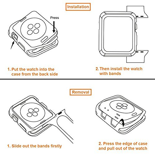 V85 Compatible Apple Watch Case 42mm, Shock-proof and Shatter-resistant Protector Bumper iwatch Case Compatible Apple Watch Series 3, Series 2, Series 1, Nike+,Sport, Edition Black by V85 (Image #9)