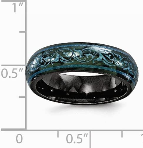 Jewels By Lux Edward Mirell Black Ti Beveled /& Grooved Blue Anodized 8mm Band