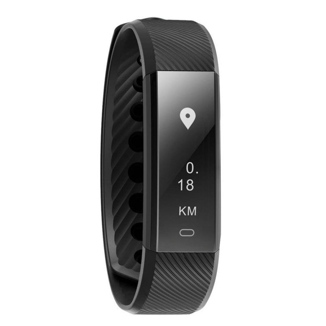 Fitness Tracker ID115 HR, Boofab Activity Tracker with Heart Rate Monitor Watch, IP67 Waterproof Smart Wristband with Calorie Counter Watch Pedometer Sleep Monitor for Kids Women Men (Black)