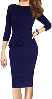 Elegant Pencil Dress,Women's 3/4 Sleeve Crew Neck Sheath Work Dress Vintage Slim Fit Peplum Business Pencil Dress